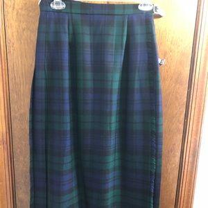 Pendleton Navy Blue Green Plaid Vtg Skirt Size 10